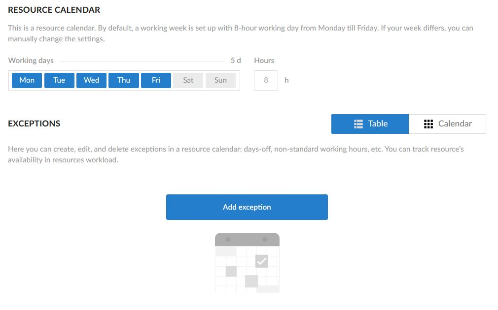 resource calendar settings screenshot