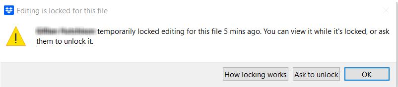 Screenshot of version control in Dropbox