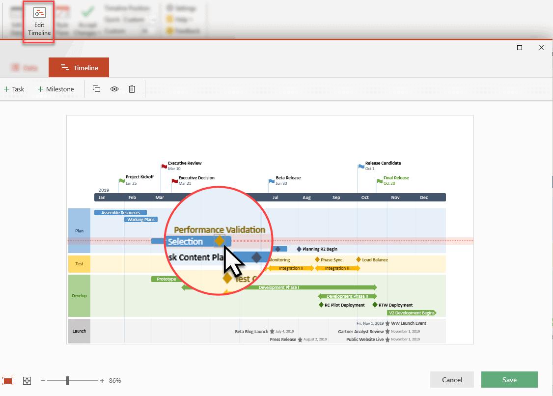 edit timeline view